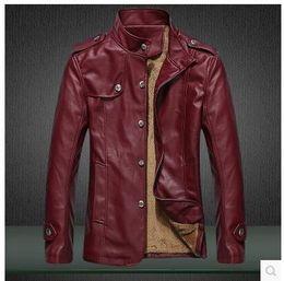 Desconto revestimento da motocicleta longas de couro M-3XL jaqueta de couro da motocicleta jaqueta de couro longa do inverno dos homens jaqueta de couro magro da forma dos revestimentos da motocicleta jaqueta de couro da cor múltipla