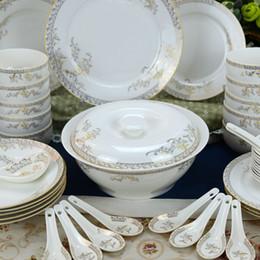Wholesale 46 Pieces Gold Edge Ceramics Dinnerware Sets Bowls Spoon Plant Bong China Porcelain in glaze Decoration Gift