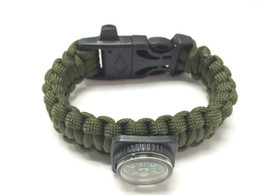 survival bracelet Top quality hiking and camping 550 paracord watch for survival bracelet mini compass flint cutting knife