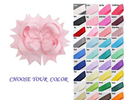 """4.5"""" Solid Grosgrain Spike bow Clips , Children's Hair Accssory Free choose Colors 120pcs"""