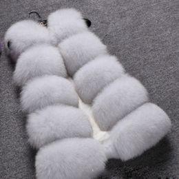 Desconto women s faux fur vest Novo Design 2015 moda inverno mulheres pele colete Faux Fox Fur casacos mulher falso casaco de peles jaqueta Feminino senhoras pele casacos tamanho S-XXXL