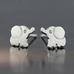 925 pure silver anti allergy silver wire drawing big ear small elephant Stud Earrings FS123