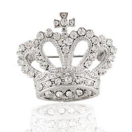 Promotion tiare broche strass Vente en gros- Tiara Broche Vêtements décoratifs Cristal CZ Diamant Bijoux Mariage Bridal brillant strass Argent Broche Broche Pin pour les femmes