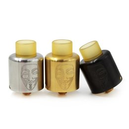 Wholesale High clone newest Mask RDA Atomizer SS Black Gold Tank MM Wide Bore PEI DRIP TIP Fit ECigarette Mods Bottom Air flow system adjustable