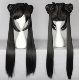 100% Brand New High Quality Fashion Picture full lace wigs>Long Black Straight Lady Girl Lolita Wig With Two Ponytails Design Wig