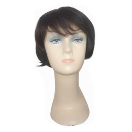 New Short Hairstyles Wigs Elegant Short Black Straight Hair Top 100% Human Hair Wigs Afro Wigs Party Wig Free Shipping