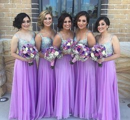 Wholesale Summer Lavender Long Chiffon A Line Bridesmaid Dresses Spaghetti Straps Sweetheart Bridesmaid Gowns Wedding Guest Dresses 2017
