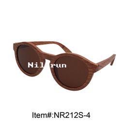 fashion women's round brown polarized lenses rosewood sunglasses