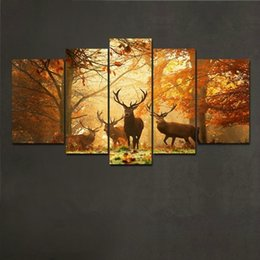 No Frame 5PCS Deer Wall Painting Pictures Modern Tree Canvas Painting Wall Art Animal Picture Home Decor Living Room Bedroom