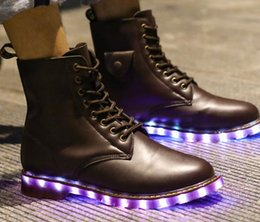 Wholesale Martin boots lovers with glowing shoes fluorescent USB charging colorful led lights step dancing shoes midnight ghost light shoes
