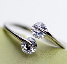 925 Sterling Silver Rings Wedding Open Finger Rings Austrian Crystal Finger Jewelry Bohemian Women Luxury Jewelry Brand New 10pcs