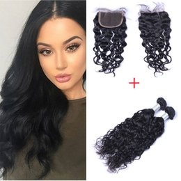 7A 100% Human Hair Extensions Double Weft Remy Natural Weave Natural Color Mixd Lengths grace Hair 2pcs 200g with 4*4 Lace Closure