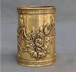 De Noel chine laiton fengshui riche Pivoine Pivoines Pie oiseau statute Brosse Pot crayon, vase Halloween