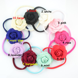 free shipping 10pcs Colorful Spandex Nylon Headband with 7.0cm Felt Blooming Camellia Flower Baby Headband Handmade for Photography FD200