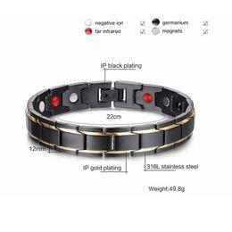 Hot Sale Fashion Health Energy Bracelet Bangle Men 316L Stainless Steel Bio Magnetic Bracelets Black & Gold Plated Jewelry