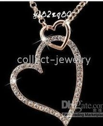 18K Gold Crystal Double Heart Necklace New