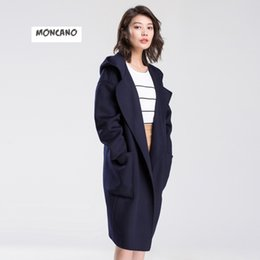 MONCANO 2017 new fashion cashmere coat women long hooded coat autumn and winter wool coat 159003