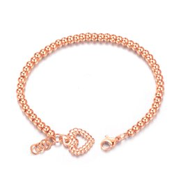 Wholesale Beaded Chain Bracelet with Heart Charm Stainless Steel mm mm Extension