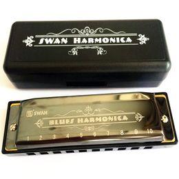 Harmonica diatonique c cygne en Ligne-Vente en gros-2016 New Swan Harmonica 10 Trou Diatonic Blues Harpe Haute qualité Mouth Organ Instrument à vent Instrument de musique Harmonica diatonic C