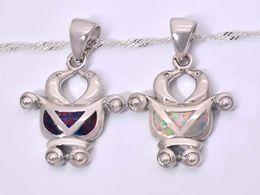 Wholesale & Retail Fashion Jewelry Fine White Brown Fire Opal Stone Silver Plated Pendants For Women PJ16021402