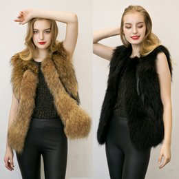 Wholesale 2017 European And America Style Winter And Autumn New Plush Vest Imitation Fur Raccoon Spell Leather Vest Slim Wlid Women Wear Tanks B