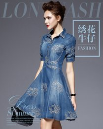 Wholesale Europe and the United States fashion big size cowboy dress one third of the sleeves spring to increase the size of the fat Instit Hot Sale