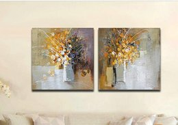 Hand Painted 2 Panels Oil Paintings on Canvas Modern Abstract Flower Home Decoration Wall Art for Living Room
