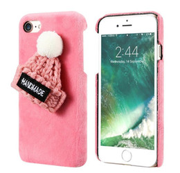 Wholesale Fashion Lovely Plush Hat Furry Hard PC Phone Back Cases for Iphone s plus plus
