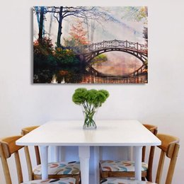 Modern Oil Painting (No Frame) Abstract Bridge Landscape Canvas Giclee Wall Art picture for Living Room Home Decoration (Size:5 sizes)
