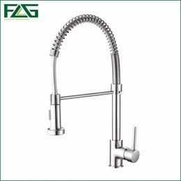 Wholesale Spring Style Kitchen Faucet Brushed Nickel Faucet Pull Out Torneira All Around Rotate Swivel Function Water Outlet Mixer Tap