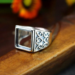 Wholesale Art Nouveau Princess Cabochon x12mm Semi Mount Men Ring Sterling Silver Engagement Wedding Ring Fine Silver Setting