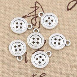 Promotion côté de l'artisanat Grossiste- 30pcs Charms double face bouton 13mm artisanat pendentif artisanat faire l'ajustement, argent tibétain vintage, bricolage pour bracelet collier
