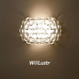 Willlustr Modern Design Light Wall Sconce Acrylic Ball Lighting replica Foscarini Caboche Wall Lamp LED R7S bulb clear gold bead hotel cafe