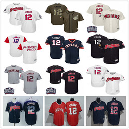Puerto Rico WBC #12 Francisco Lindor Cleveland Indians Grey Gray White Blue 1976 Pull Down Green Majestic MLB World Baseball Classic Jerseys