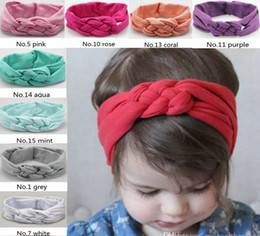 2017 INS Baby Girls Hair Braided Headband Children Safely Cross Knot Soft Hair Accessories Hairband Pure Cotton Headband Hairband 17 Colors