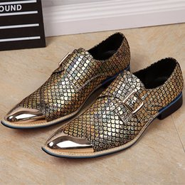 2017 chaussures robe de moine Christia Bella Brand Chaussures italiennes pour hommes Chaussures en cuir véritable Hommes Chaussures Formal Business Mariage Or Monk Oxford Chaussures Hommes Flats