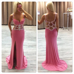 2017 New Sexy Straps Pink Sheath Prom Dresses Sparkly Crystal Beaded Rhinestones Sexy Back Side Split Floor Length Evening Gowns BO5726