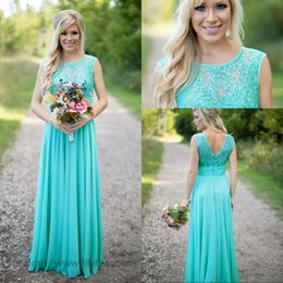 2018 Spring Summer Cheap Turquoise Bridesmaid Dresses under 50 Scoop Neckline Long Country Lace Chiffon Junior Bridesmaid Dress for Wedding