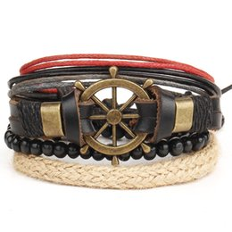 Hot Retro Style Handmade Punk Leather Adjustable Bracelet Rudder Anchor Bracelet Hand-woven Multilayer Jewelry Unisex Gift Free Shipping