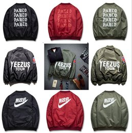 Wholesale 2017 Top Ma1 Bombardier Jacket Kanye West Tour Driver Anarchy Tracksuit Army Green Kanji Japanese Merch Flying Air force one Coat
