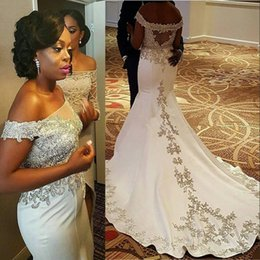 Vintage Off The Shoulder Mermaid Wedding Dresses Sheer Neck Lace Appliques Beads Sexy Back Satin Bridal Dress African Wedding Gowns