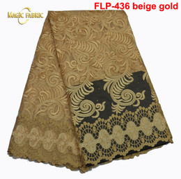 Free shipping 2017 Latest African French Lace Fabric High Quality African Tulle Lace Fabric For Wedding FLP-436