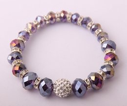 FREE SHIPPING 12mm PAVE BALL CRYSTAL RONDAL AND MULTICOLOR FACET GLASS BEADED STRETCH BRACELET