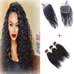 Brazilain Human Hair 4*4 Curly Lace Closure Middle Free Three Part Virgin Hair Cheap Lace Closure with 3pcs 50g pc Curly hair Bundles