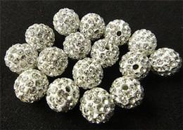 Cristales checo pulseras en Línea-El nuevo micr3ofono blanco de Shamballa de la perforación cristalina de los granos flojos 10m m pavimenta el collar cristalino de la pulsera del grano de la bola del disco de la CZ rebordea ZA1559