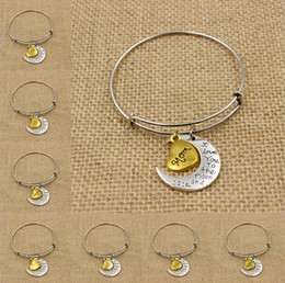 Wholesale Charm Bracelets Jewelry Fashion Alex and Ani Vintage Alloy Moon Love Family Member Bangles Can Mix BR453
