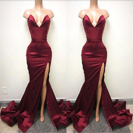 2019 Hot Burgundy Mermaid Prom Dresses Sexy Backless Sweetheart High Split Long Evening Gowns Ruched Celebrity Holiday African Party Gowns