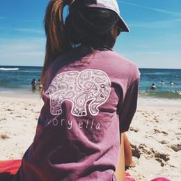 Shirt de douille d'impression des animaux gros en Ligne-Vente en gros Nouvelle Été Ivoire Ella T-shirt Femmes Vêtements Tee Imprimer Animal Éléphant T Shirt Longe Manches Longues Harajuku Tops Pour Femmes