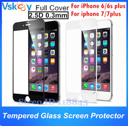 100pcs 2.5D Full Cover Tempered Glass For iPhone 6 6s Plus Full Screen Protector For iPhone 7 Plus Explosion Proof Glass Film