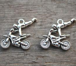 12pcs--Motorcycle Charms,Antique Tibetan Silver Tone Dirtbike charm pendants, 25X24mm